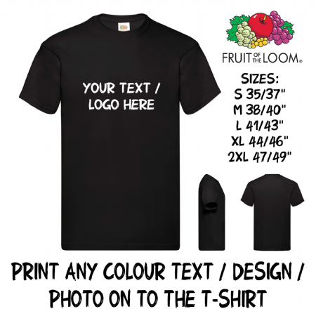 Personalised Custom Printed T-Shirt Text Logo Full Colour Men Women Stag Hen